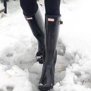 Hunter tall glossy back boots